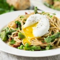 Spring Pasta with Bacon & Poached Egg