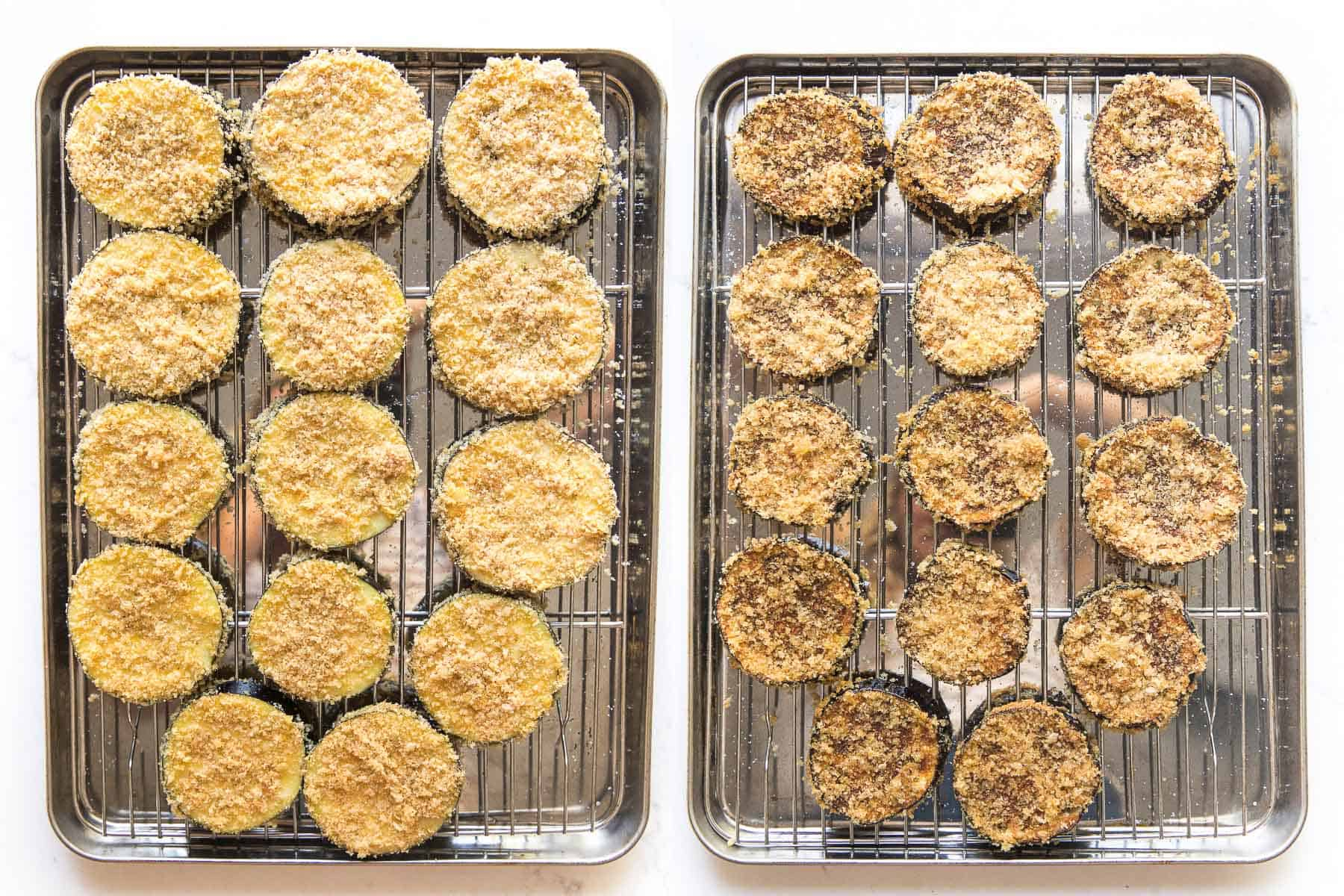 before and after of crispy baked eggplant