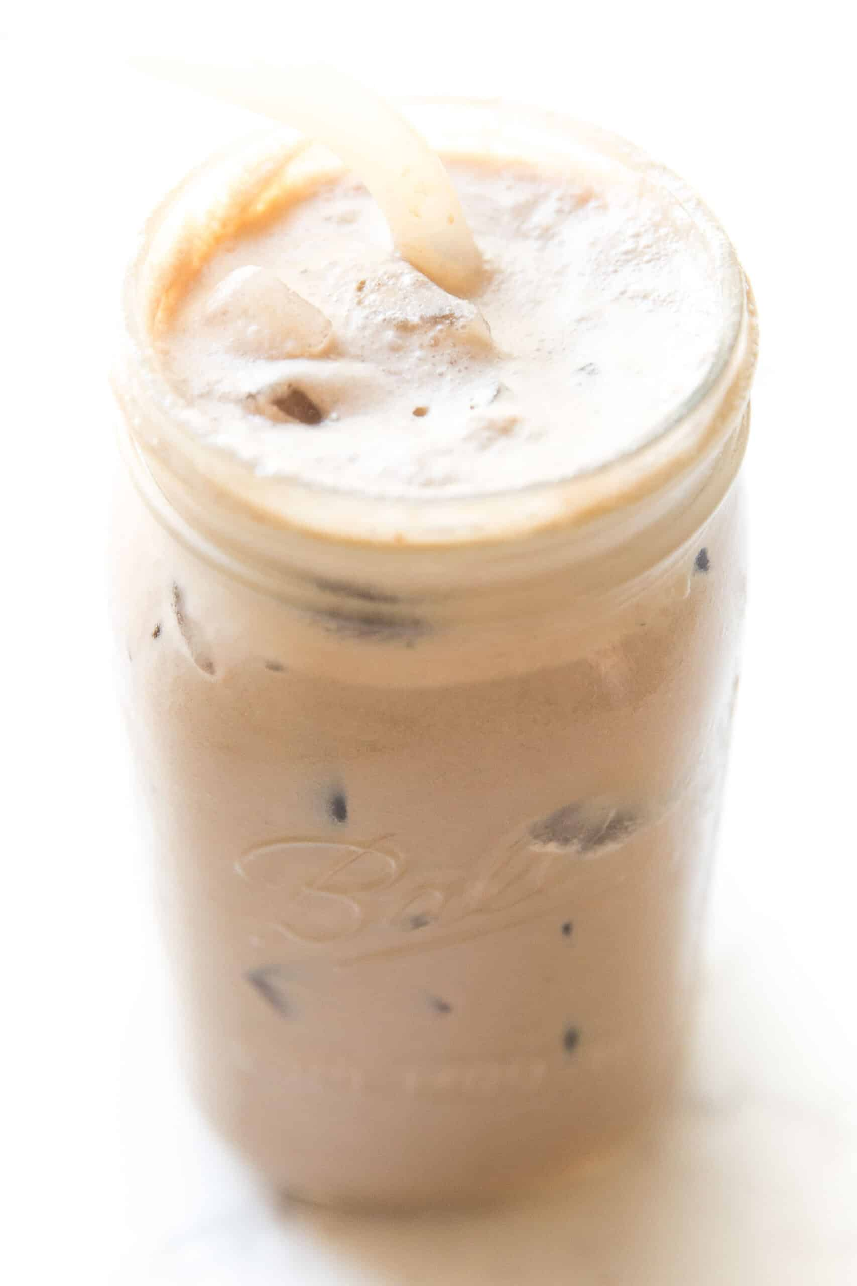 iced mocha in a mason jar