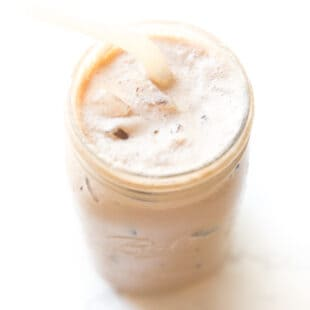 iced mocha in a mason jar