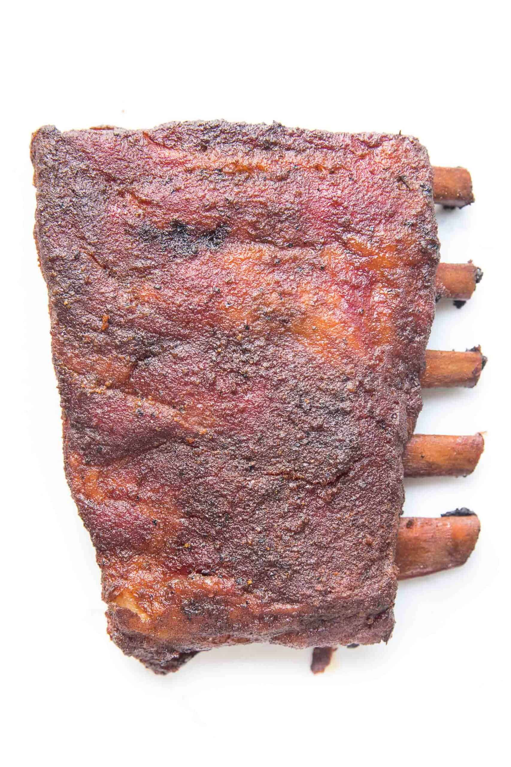 smoked ribs on a white background