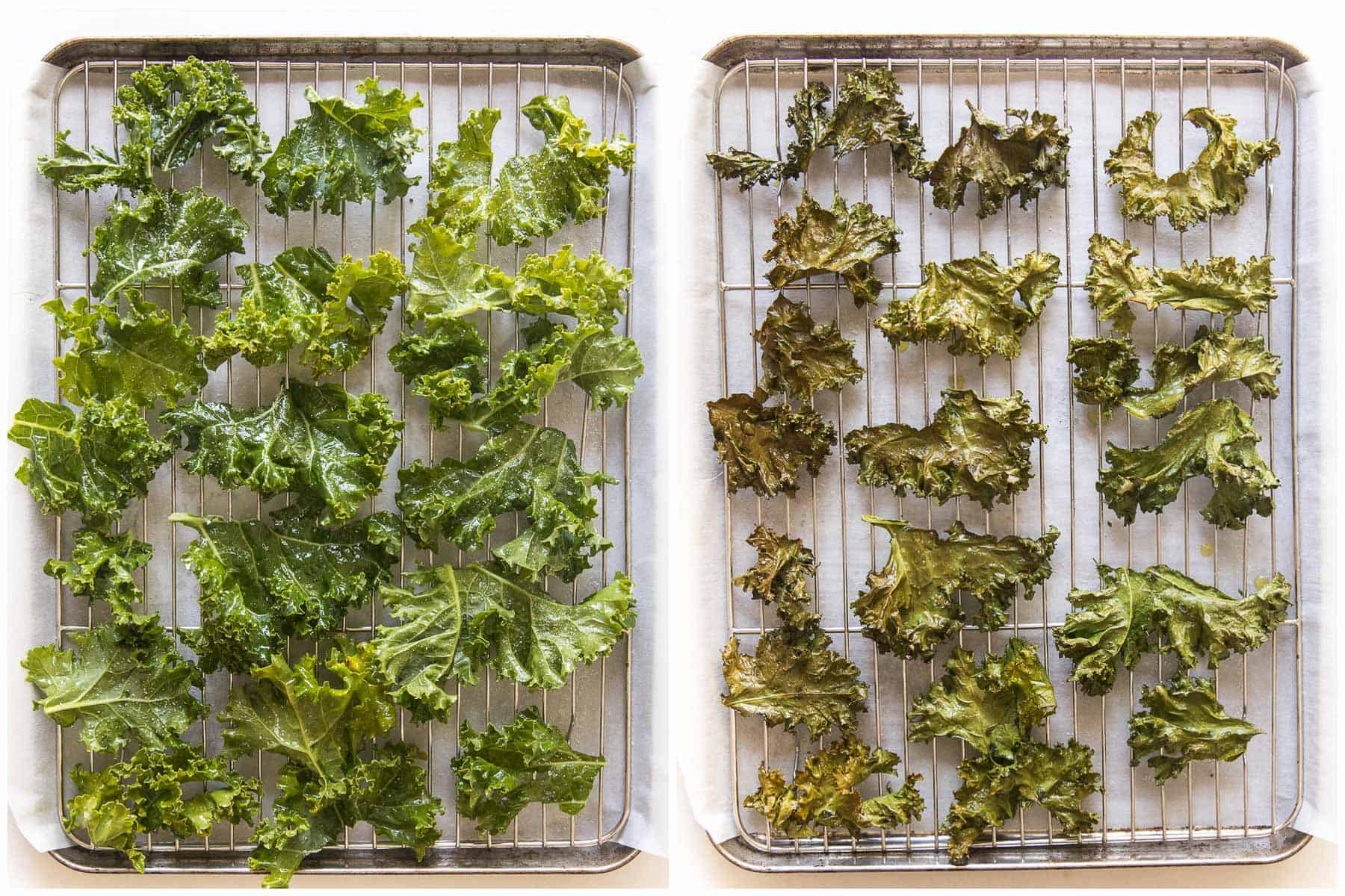 before and after baking kale chips