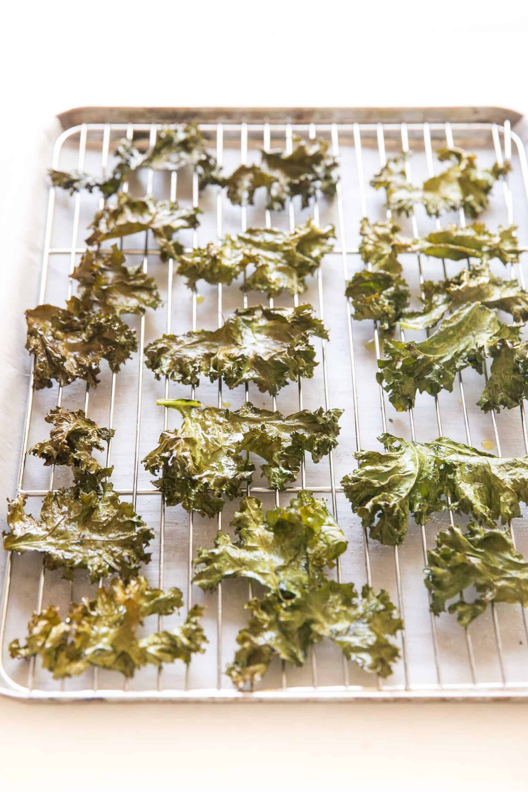 crispy baked kale chips on a rimmed baking sheet