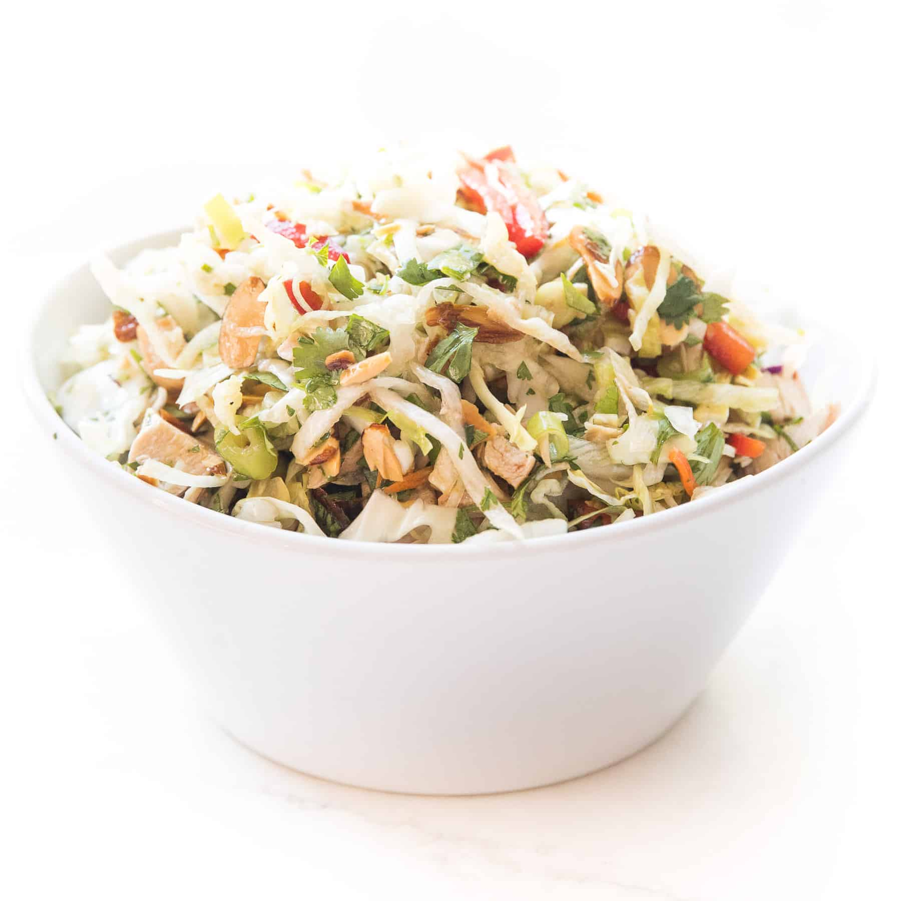 keto chinese chicken salad in a white bowl