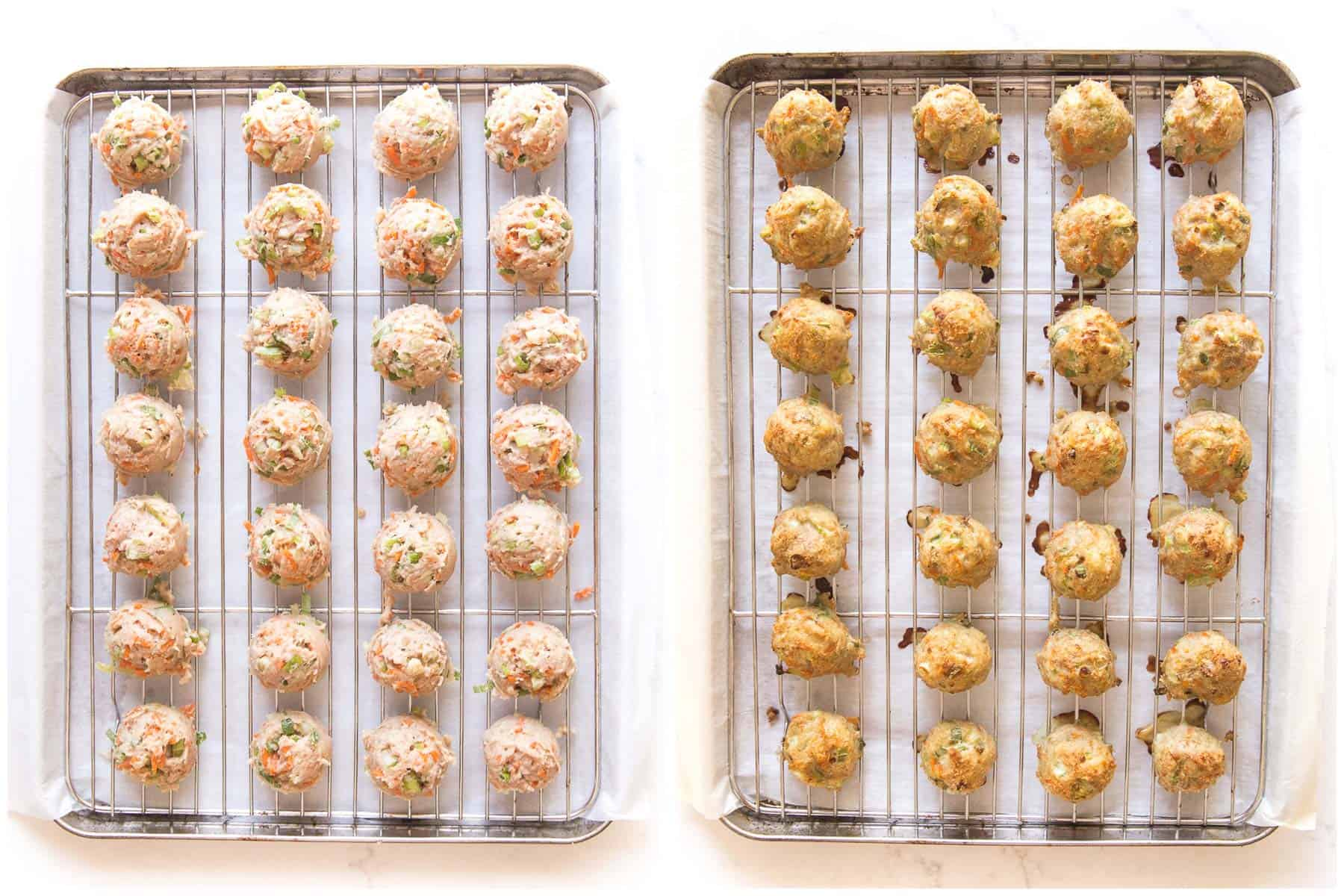 before and after of baking buffalo turkey meatballs