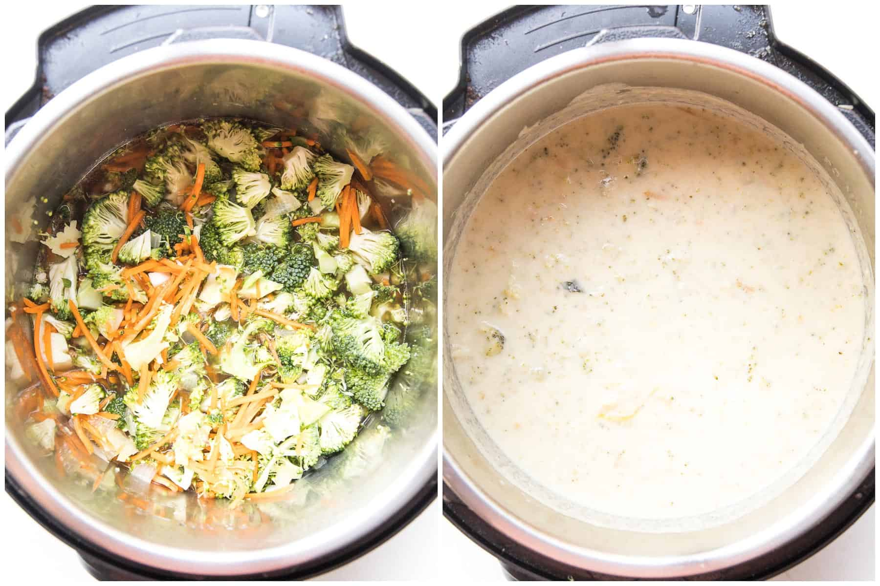 making keto broccoli cheddar soup in an instant pot