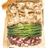 sheet pan dinner with dijon mustard chicken thighs, asparagus and radishes