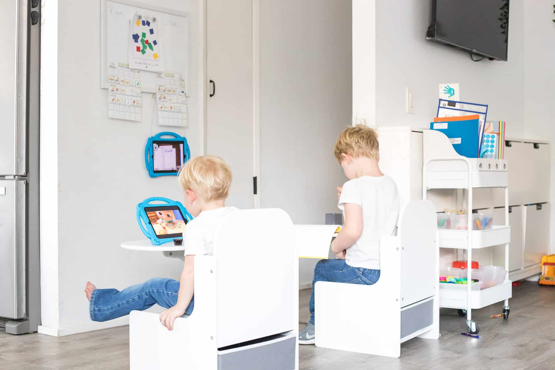 Kindergarten virtual learning home setup ideas and inspiration with childs desk and art cart