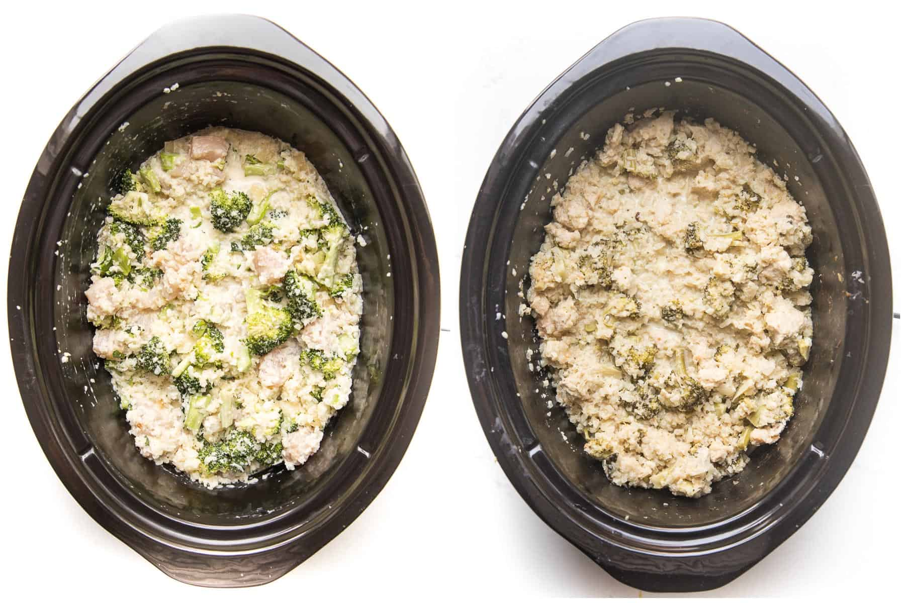 slow cooker KETO broccoli chicken cauliflower rice casserole before and after cooking