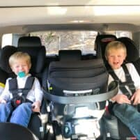 3 car seats across in a row in a 2018 toyota 4runner with 2 toddler boys buckled in