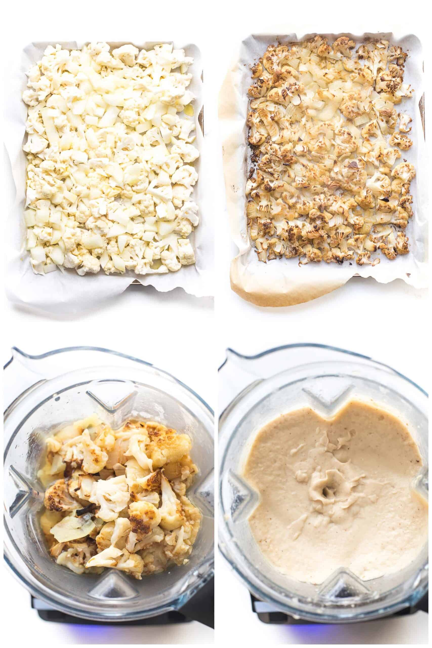 steps to making roasted cauliflower soup