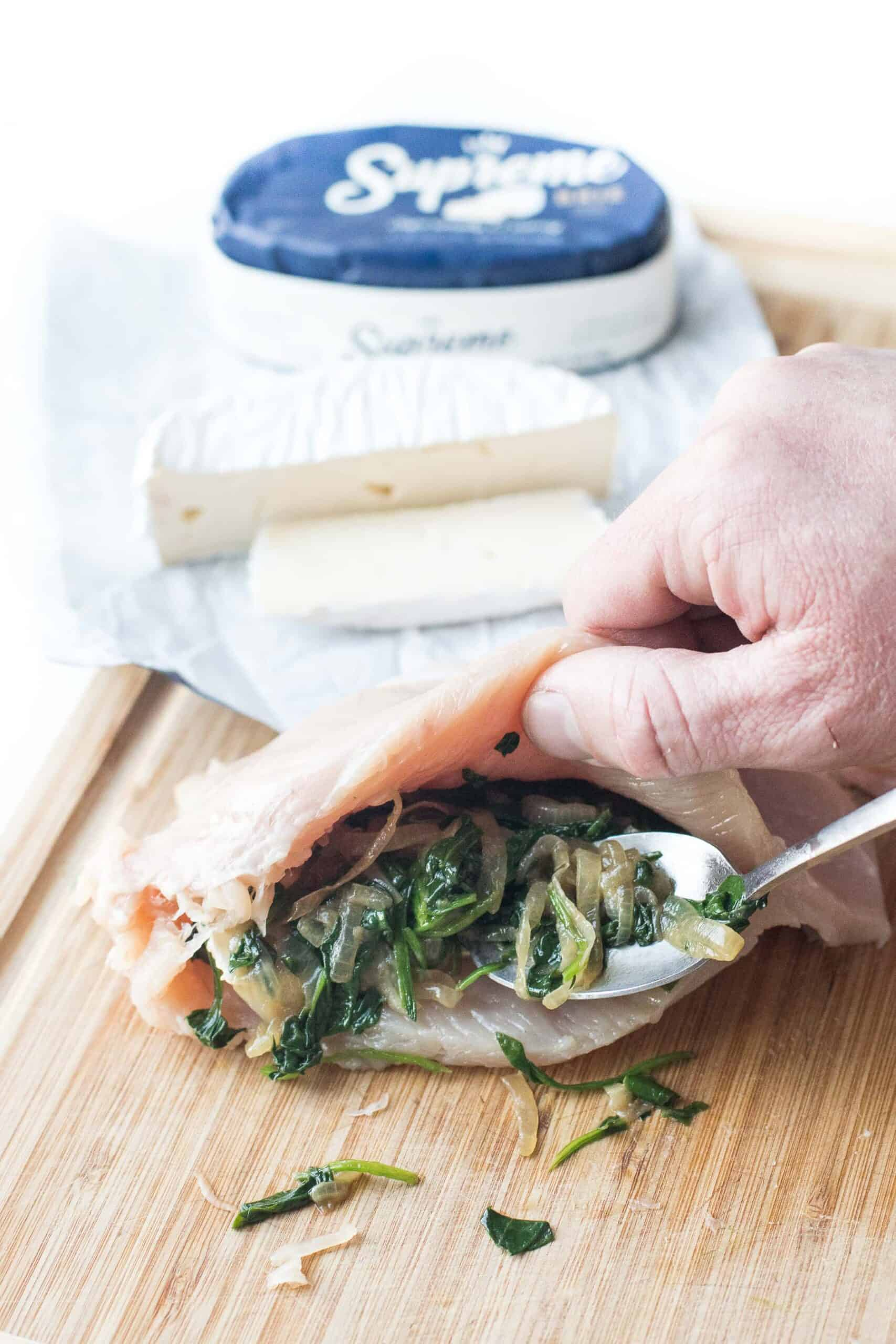 stuffing chicken breast with brie cheese and spinach