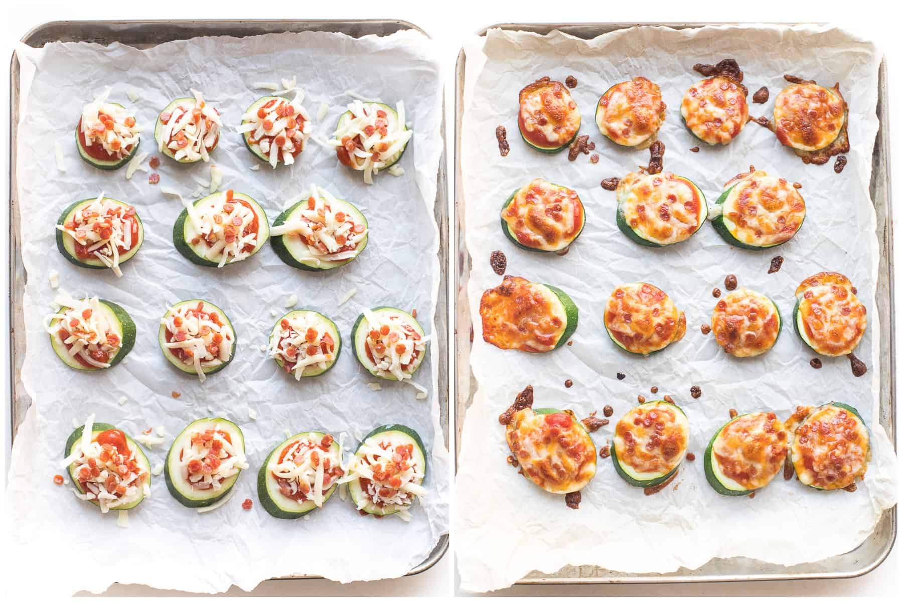 before and after of making keto mini zucchini pizza bites on a white background