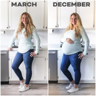 Before and after pregnancy photo blond girl in blue shirt in a white kitchen