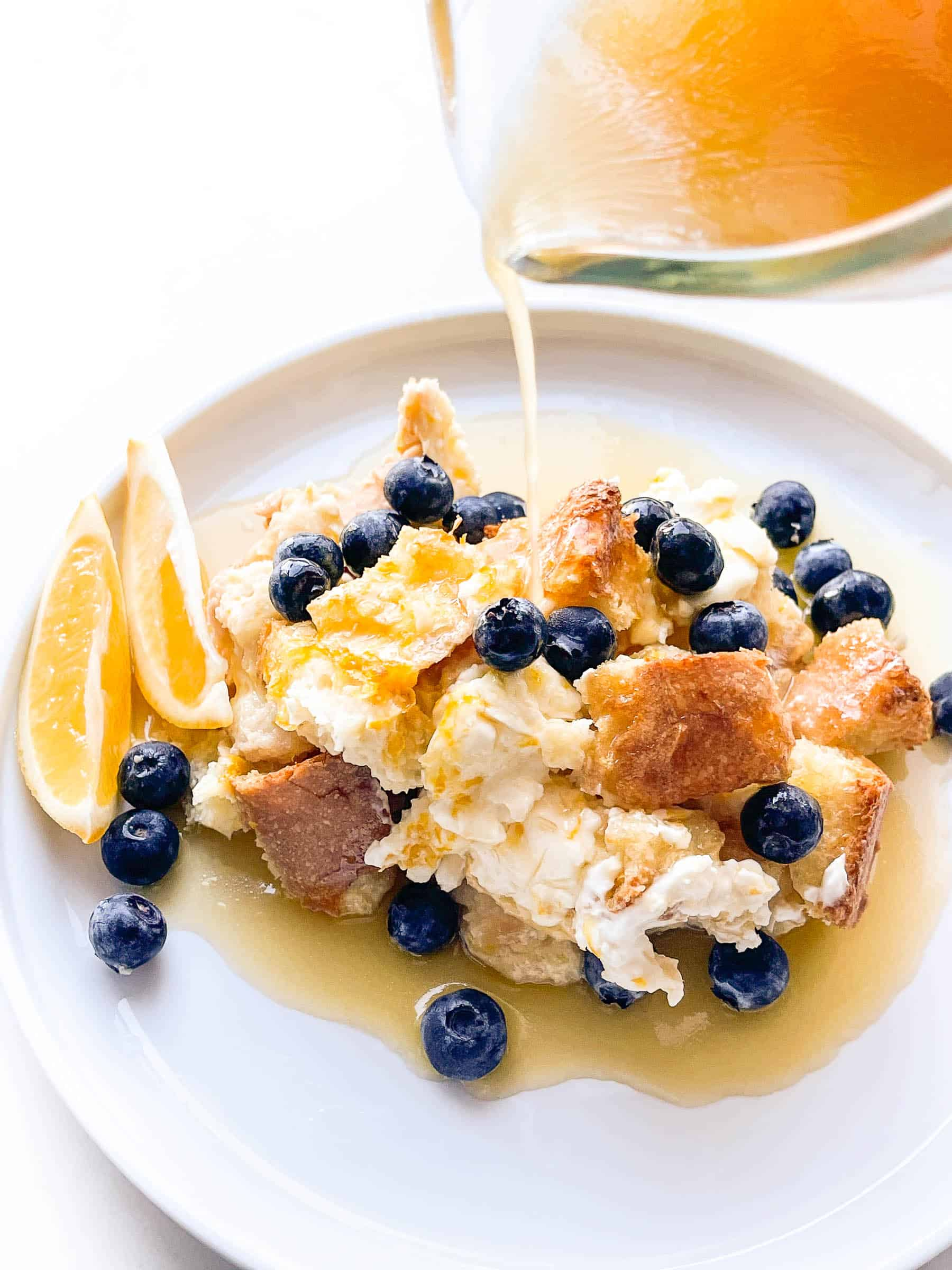 overnight french toast casserole with cream cheese and blueberries and lemon