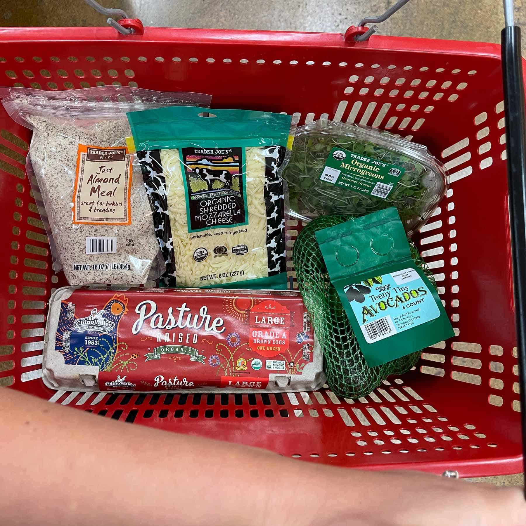 trader joe's basket filled with ingredients for keto chaffles