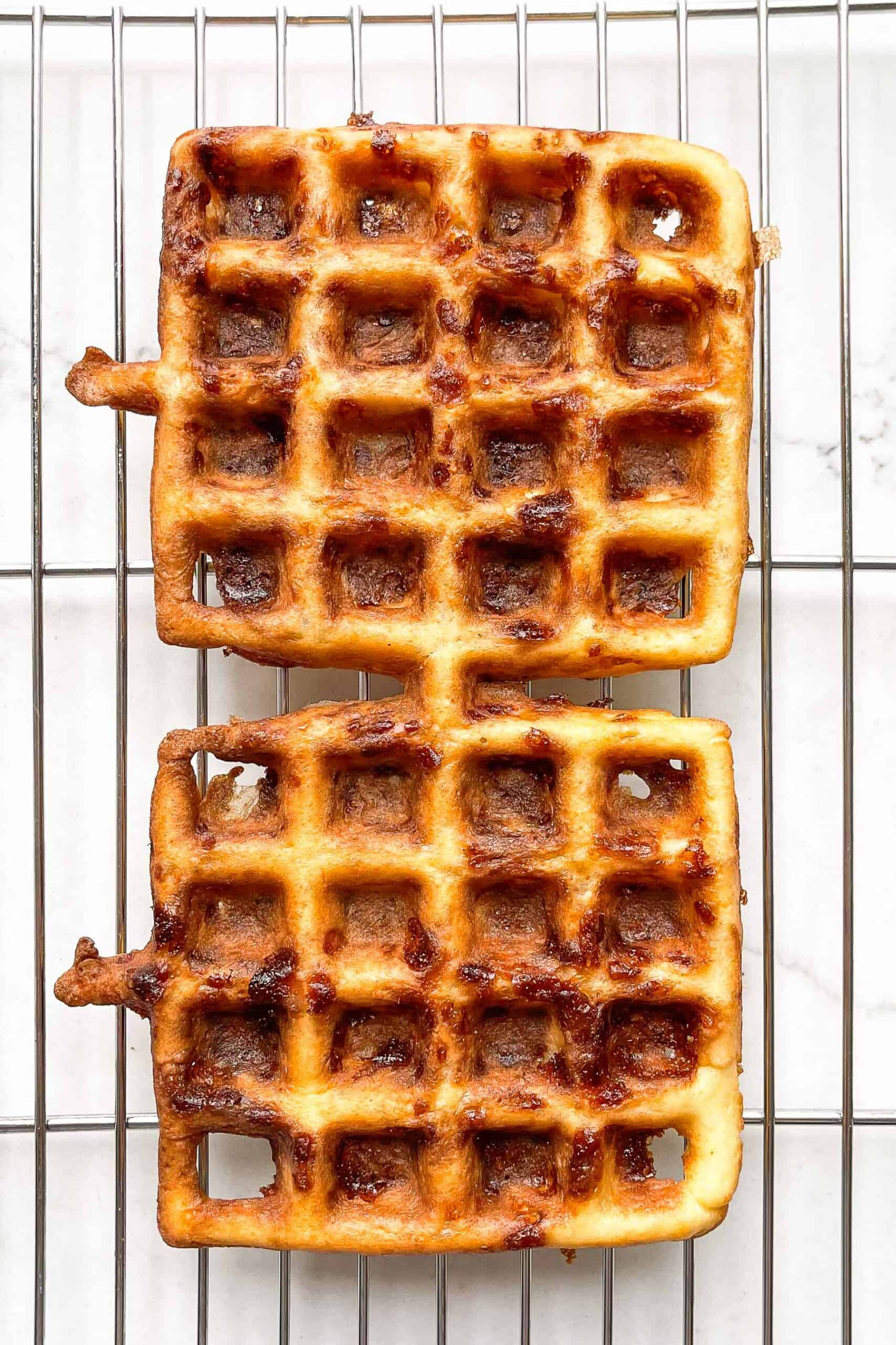 KETO CHAFFLE ON A COOLING RACK