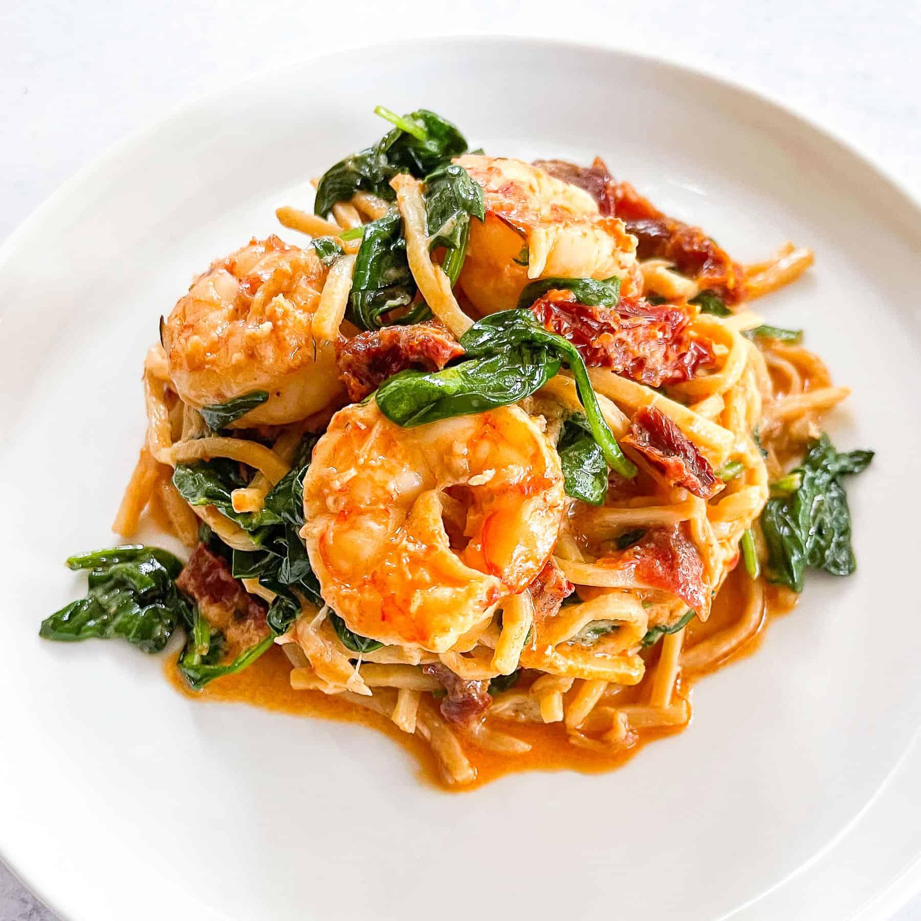 Keto Creamy Tuscan Shrimp Pasta