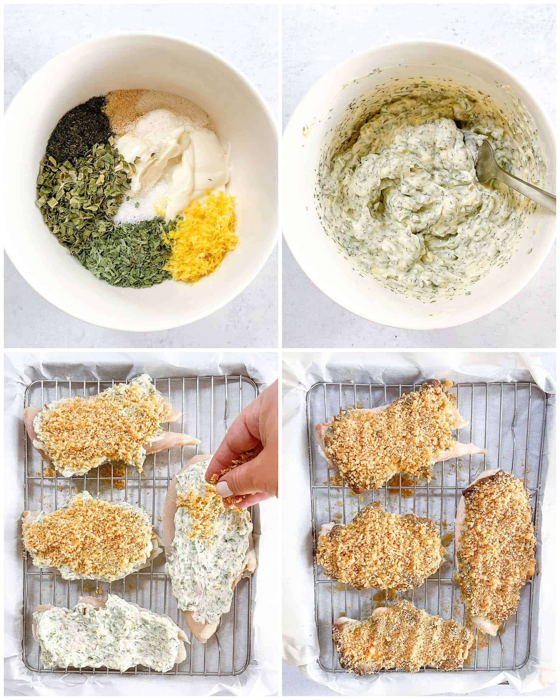 ingredients for keto crispy ranch chicken in two white bowls and two silver sheet pans with a white background