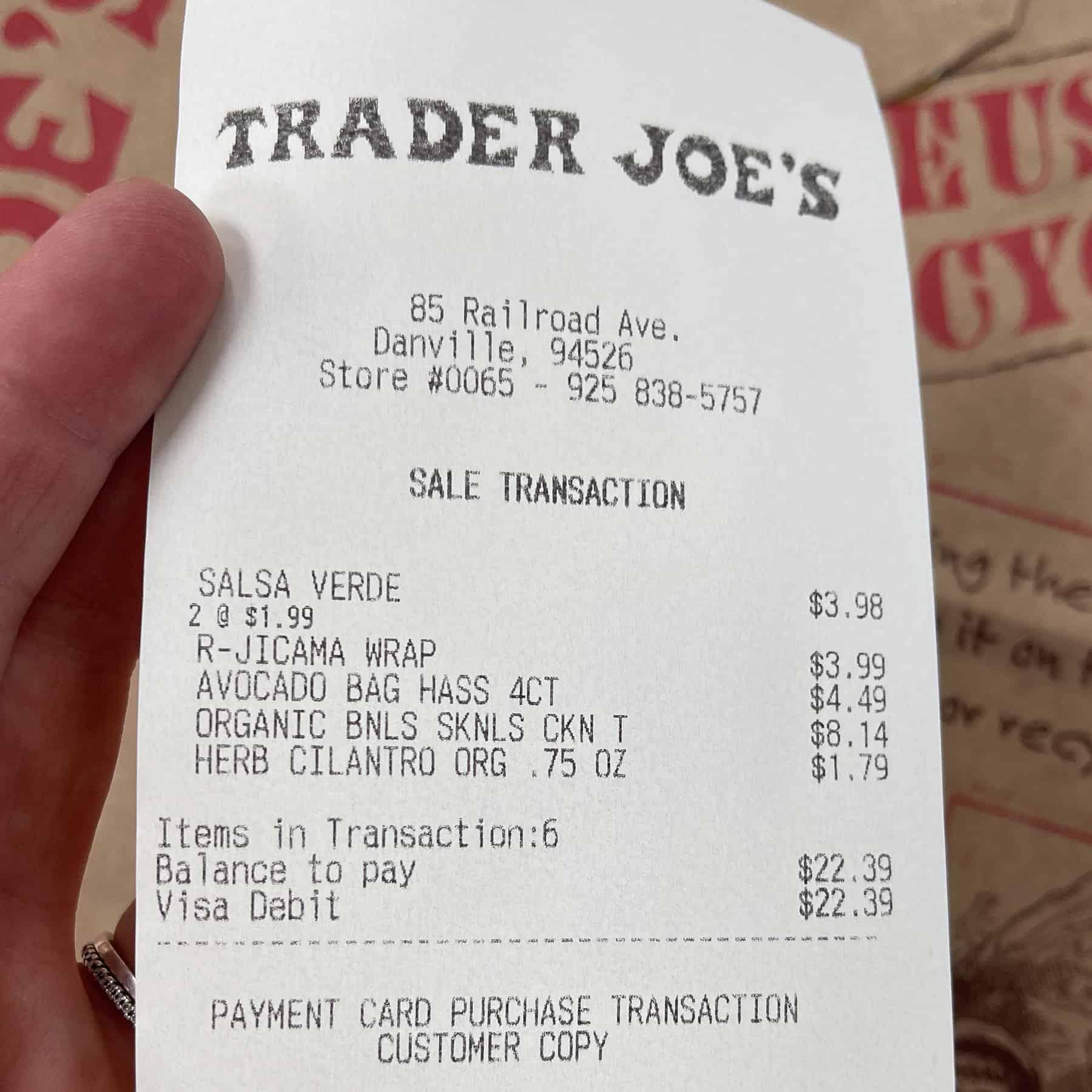 receipt for trader joe's groceries for keto crispy verde tacos