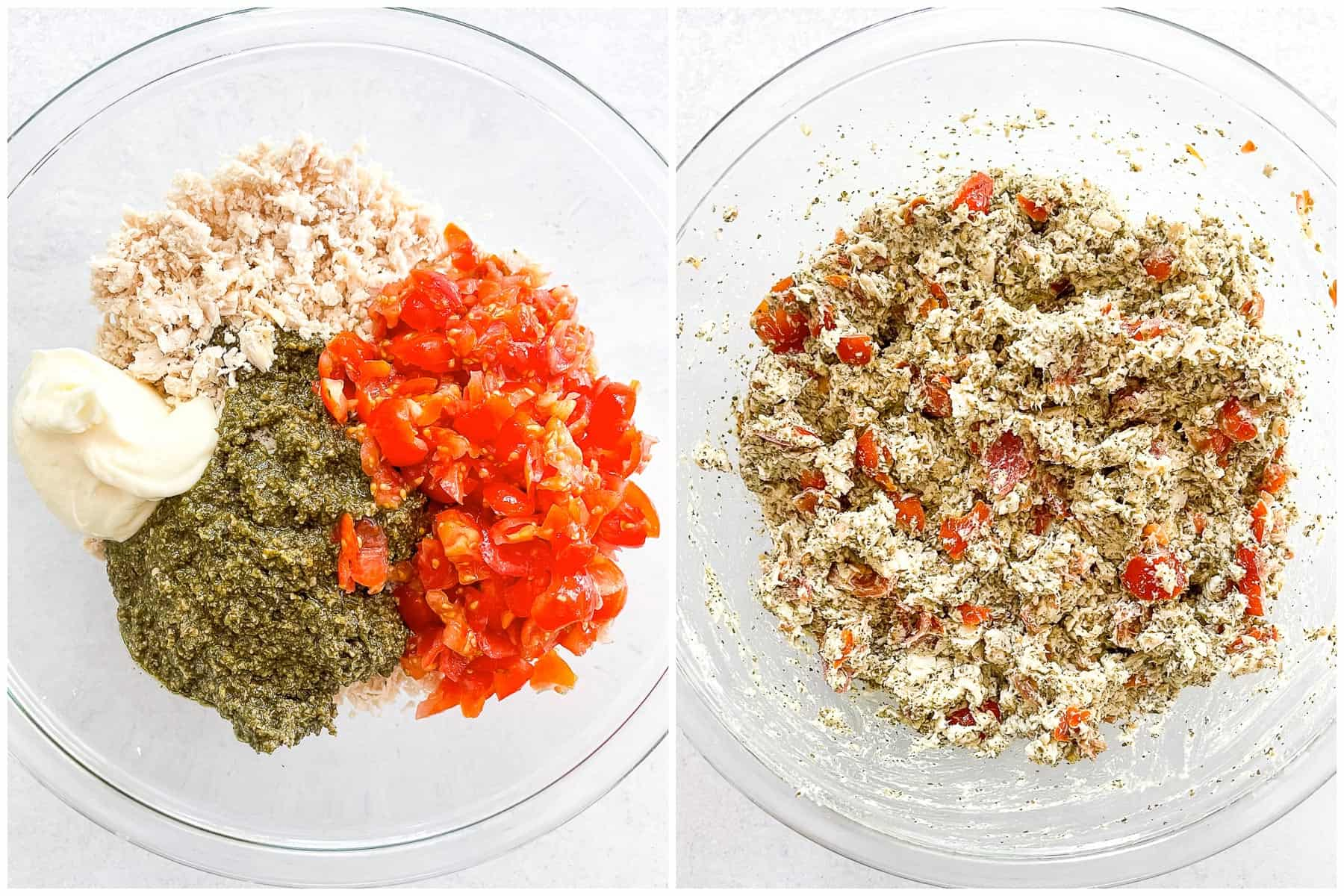 keto pesto chicken salad ingredients in a glass bowl on the left side, and all of the ingredients mixed together in a glass bowl on the right side.