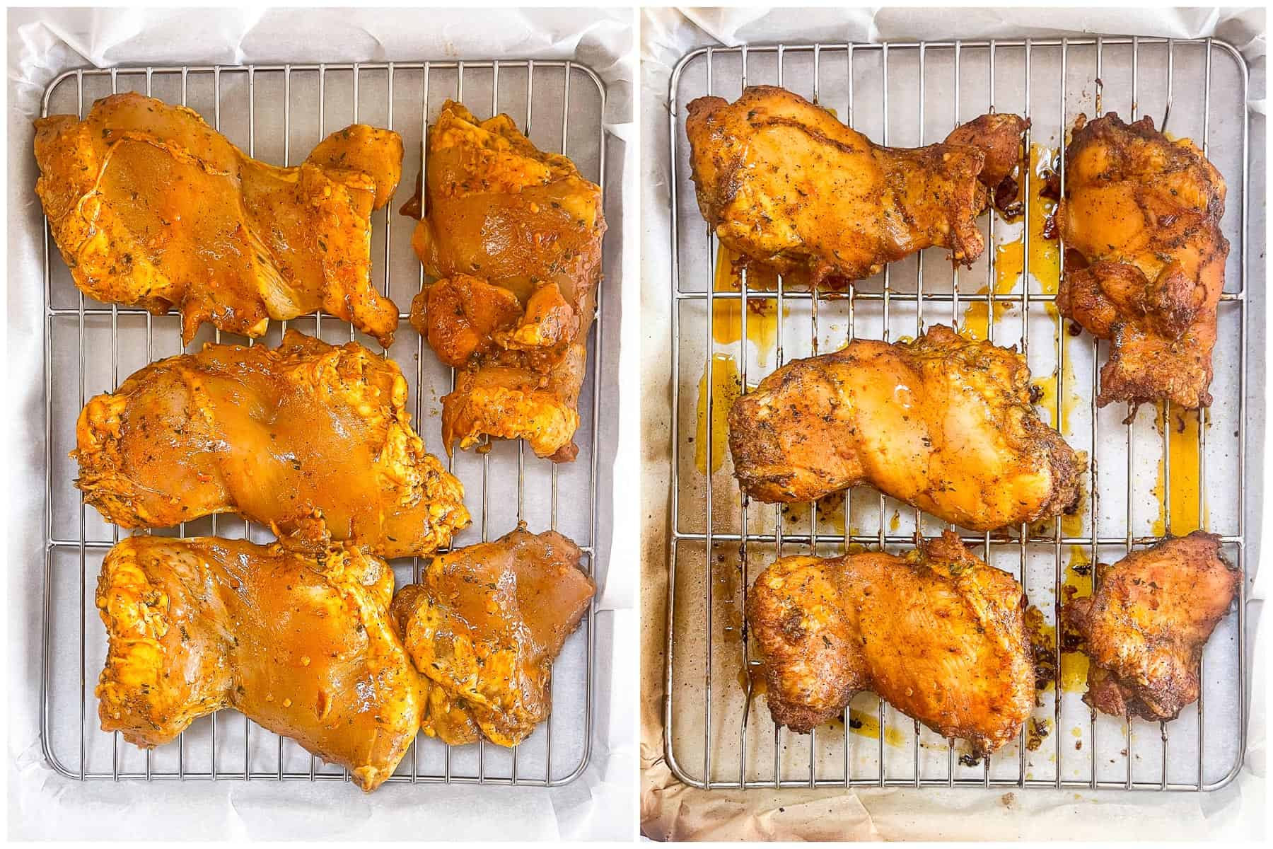 keto sheet pan chicken shawarma on a sheet pan with wire rack with a white background