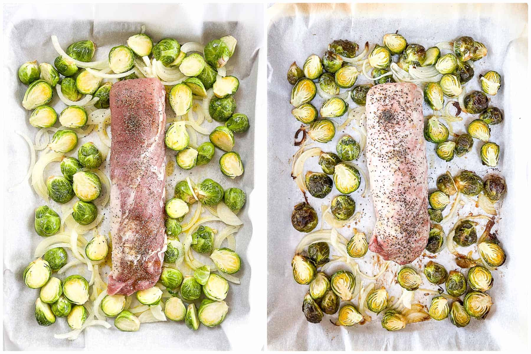 keto sheet pan pork tenderloin with romesco on a baking sheet with Brussel sprouts with a white background