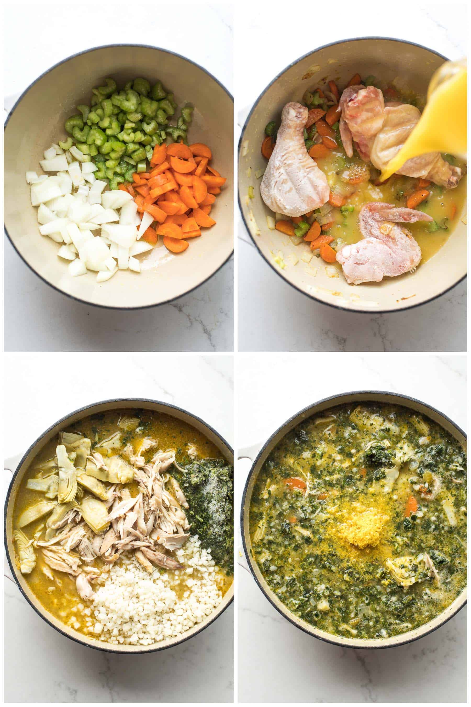 steps to making lemon artichoke chicken soup