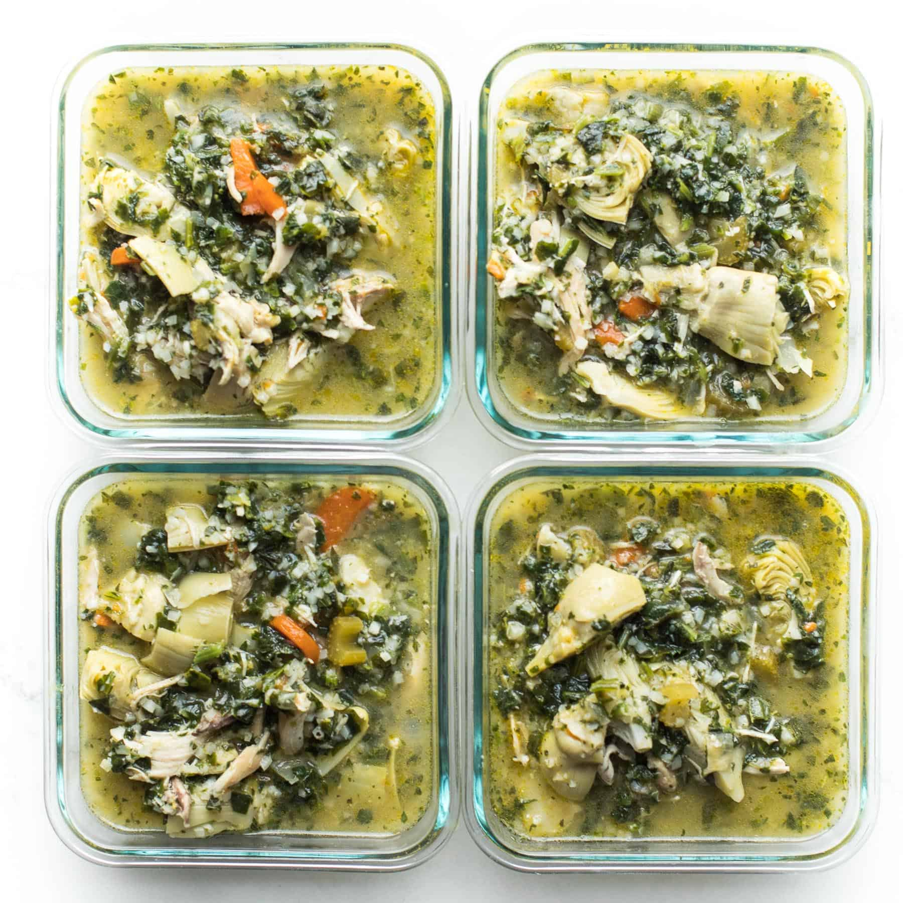 lemon artichoke chicken soup in meal prep containers