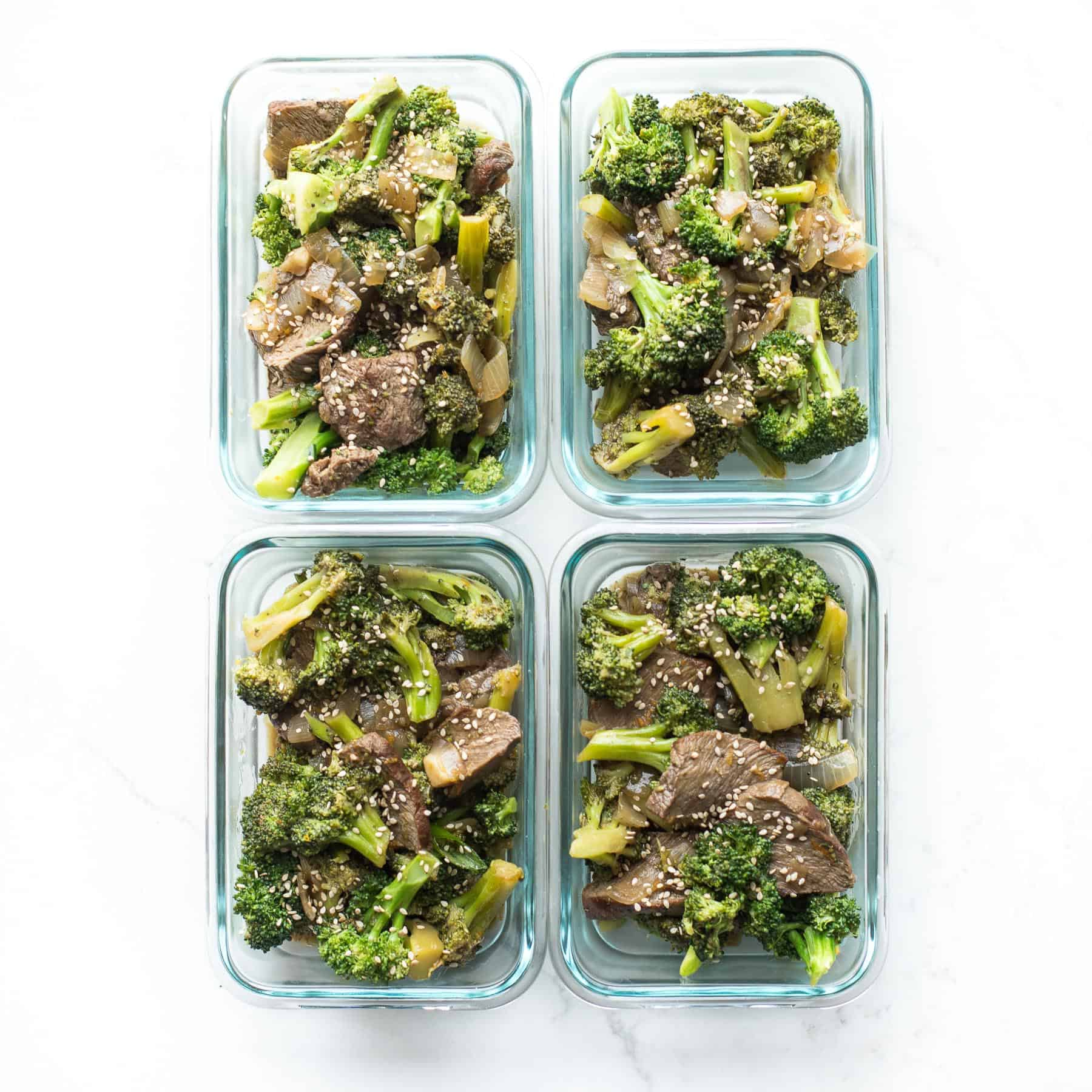 orange broccoli beef in meal prep containers