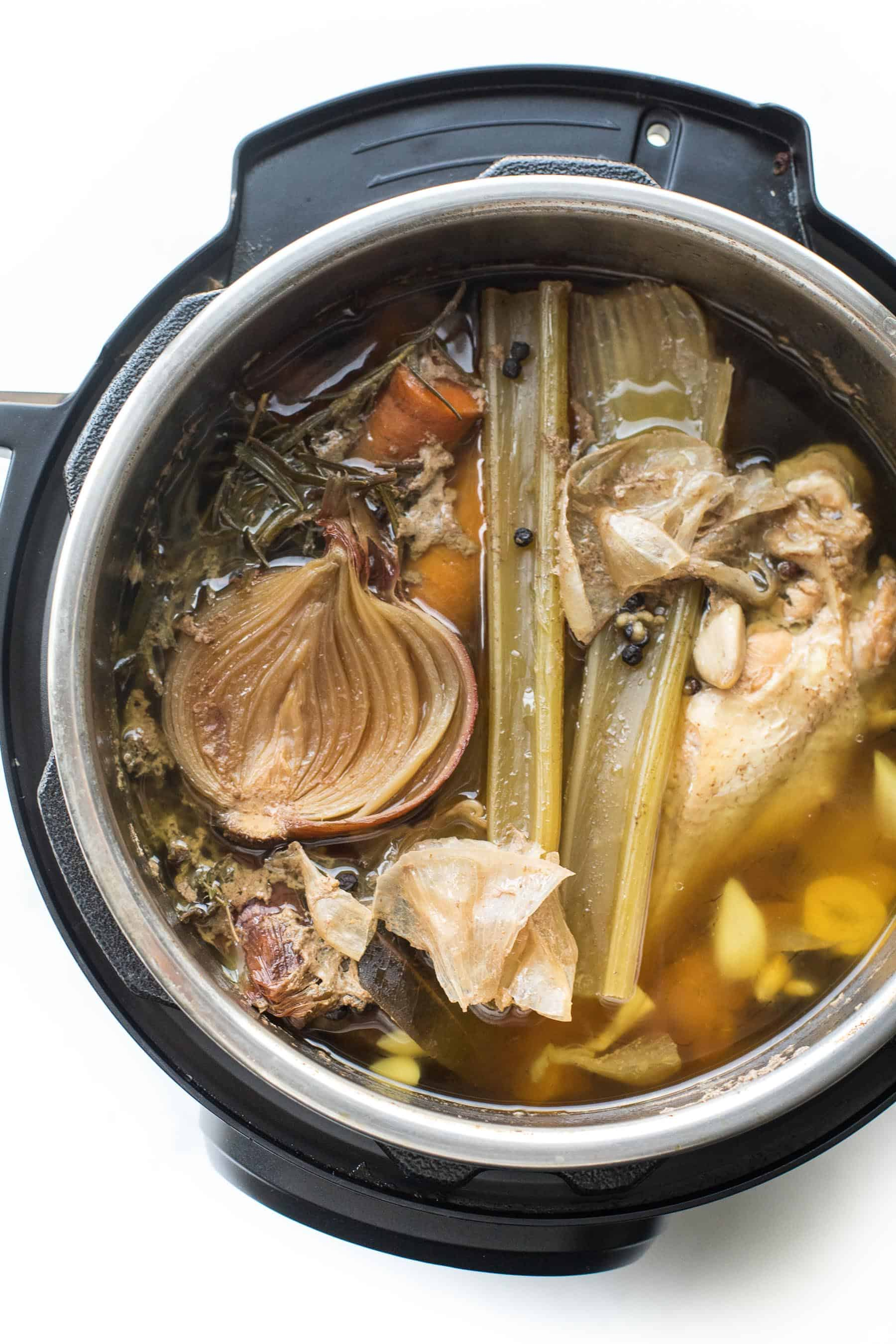 ingredients in an instant pot after making bone broth