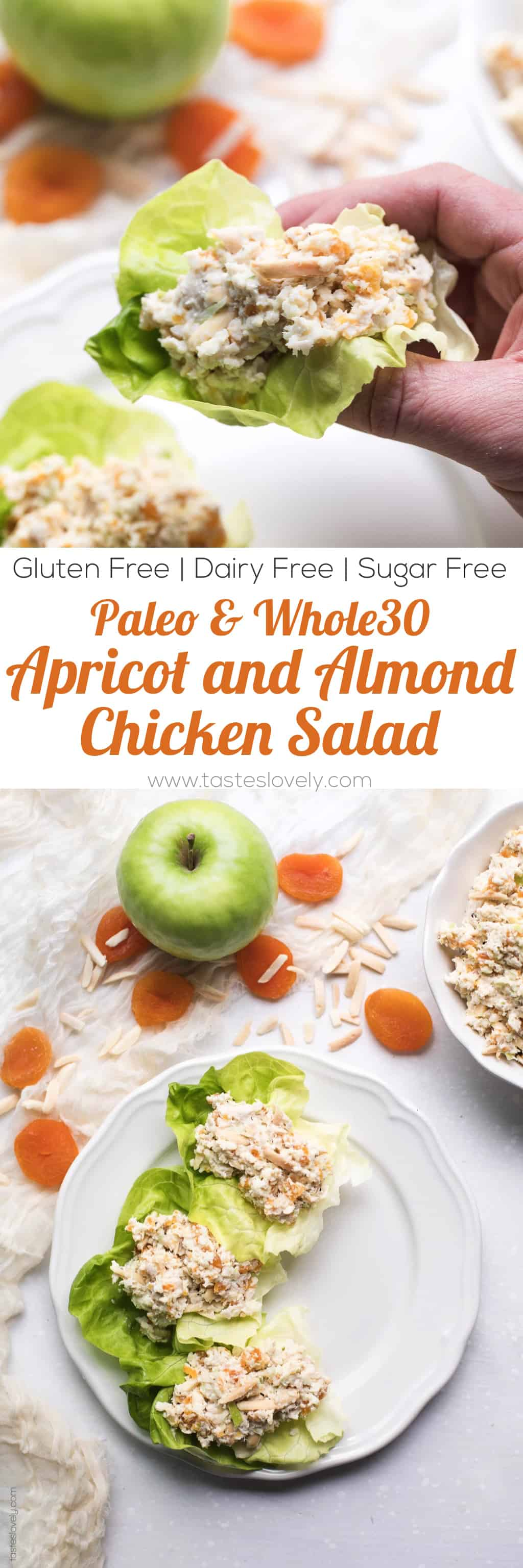 Paleo & Whole30 Apricot and Almond Chicken Salad Recipe - a light and flavorful chicken salad. My favorite meal prep lunch for the week! Gluten free, grain free, dairy free, sugar free, clean eating.