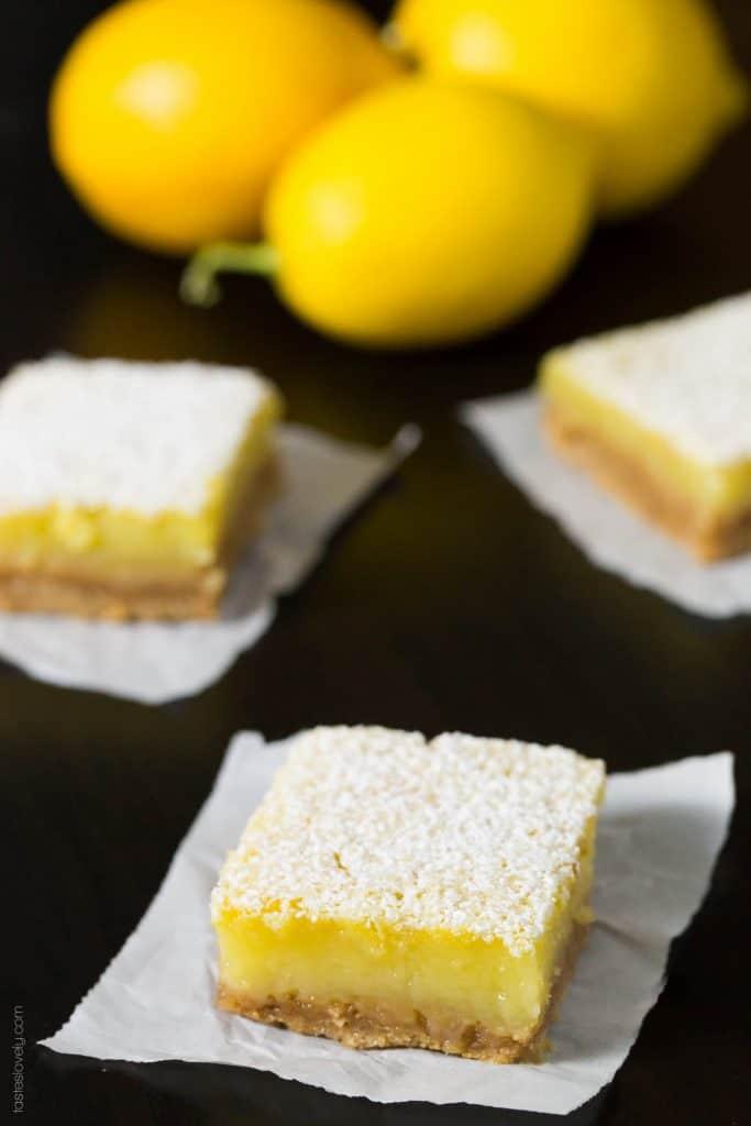 Coconut Oil Meyer Lemon Bars - a healthier dairy free lemon bar with a graham cracker crust