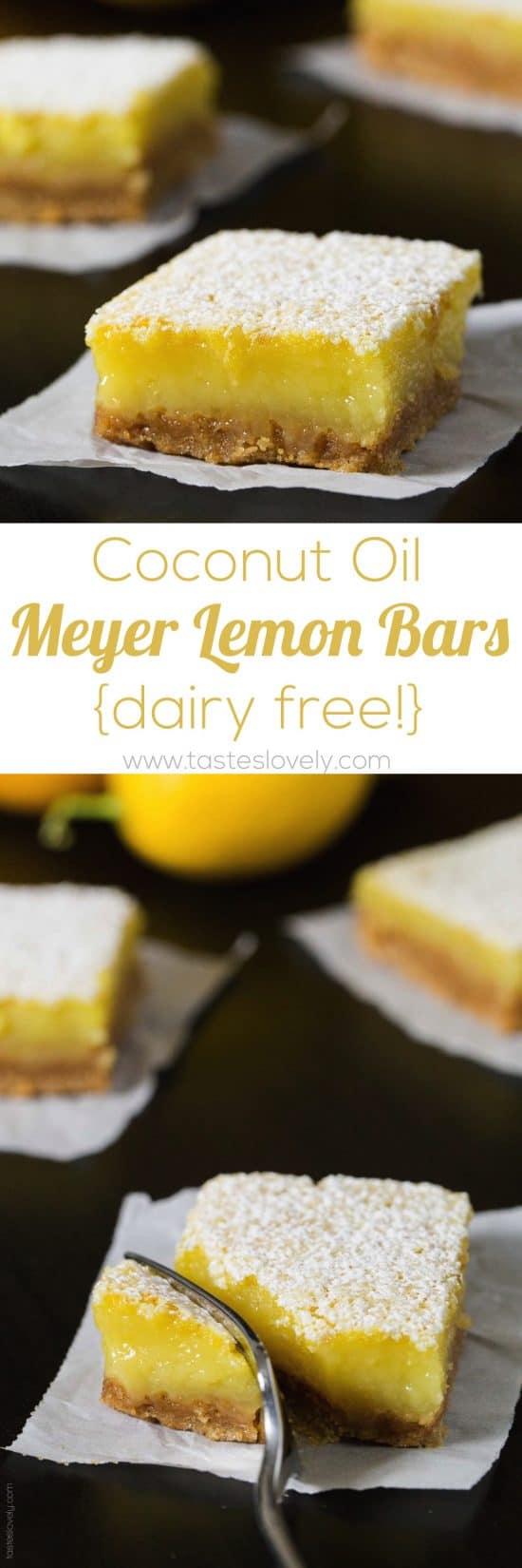 Coconut Oil Meyer Lemon Bars - a healthier and dairy free lemon bar!