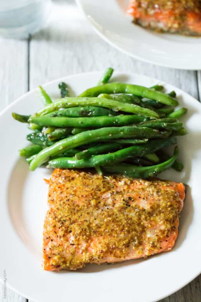 Healthy Maple Mustard Glazed Salmon recipe - just 3 ingredients and 20 minutes! (paleo, gluten free, dairy free, skinny, low calorie) -4