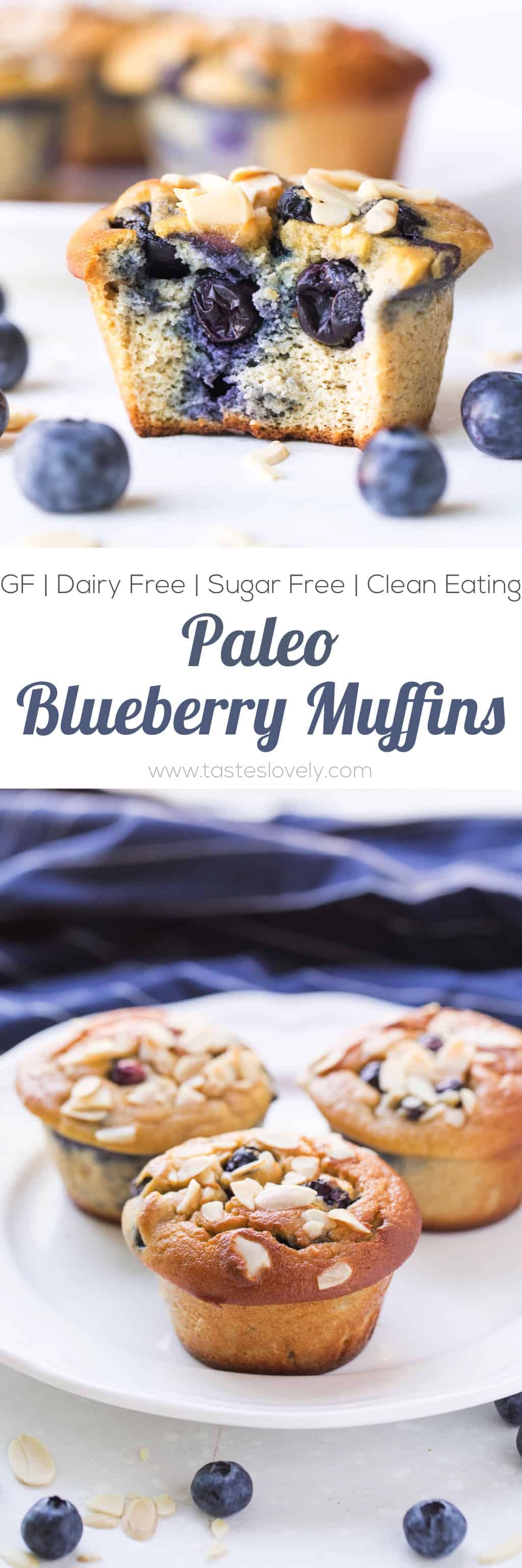 Paleo Blueberry Muffins - made with almond flour and sweetened with banana and coconut sugar. Gluten free, grain free, dairy free, refined sugar free.