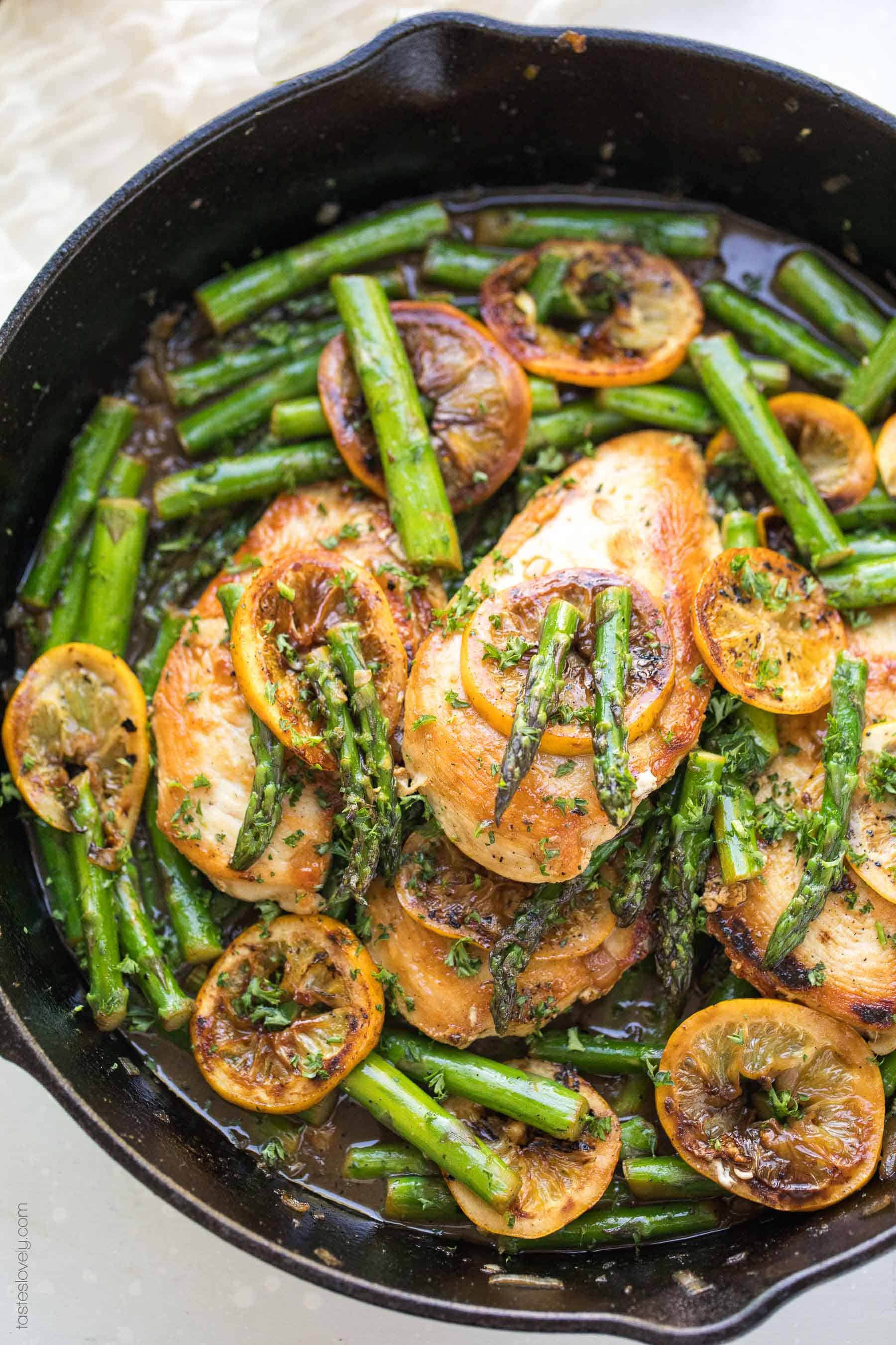 Paleo Lemon Honey Chicken & Asparagus Skillet Dinner Recipe (gluten free, grain free, dairy free, refined sugar free, clean eating)