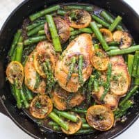 Paleo Lemon Honey Chicken & Asparagus Skillet