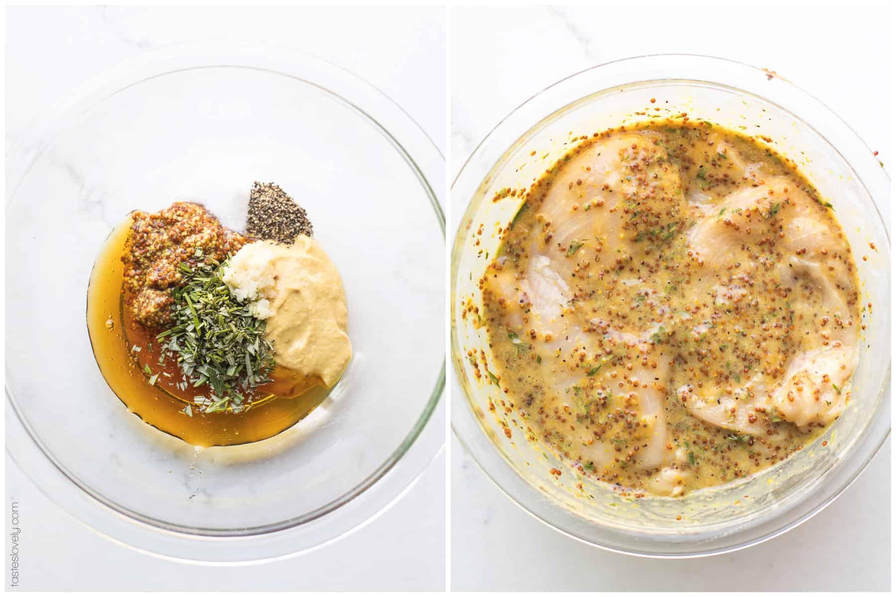 Paleo Rosemary Honey Mustard Chicken Recipe - chicken marinated in a rosemary honey mustard sauce and baked in the oven. Ready in 30 minutes! #paleo #glutenfree #grainfree #dairyfree #sugarfree #refinedsugarfree #cleaneating #realfood