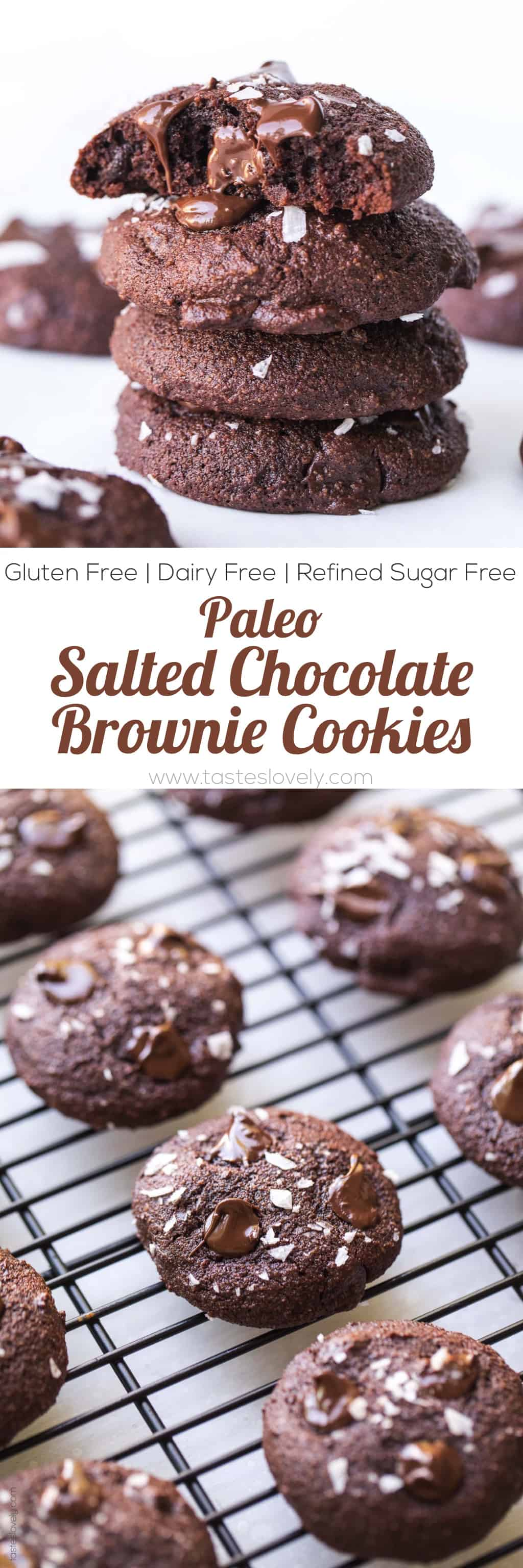 Paleo Salted Chocolate Brownie Cookies Recipe - made with almond flour and sweetened with coconut sugar! (gluten free, grain free, dairy free, refined sugar free, clean eating, keto