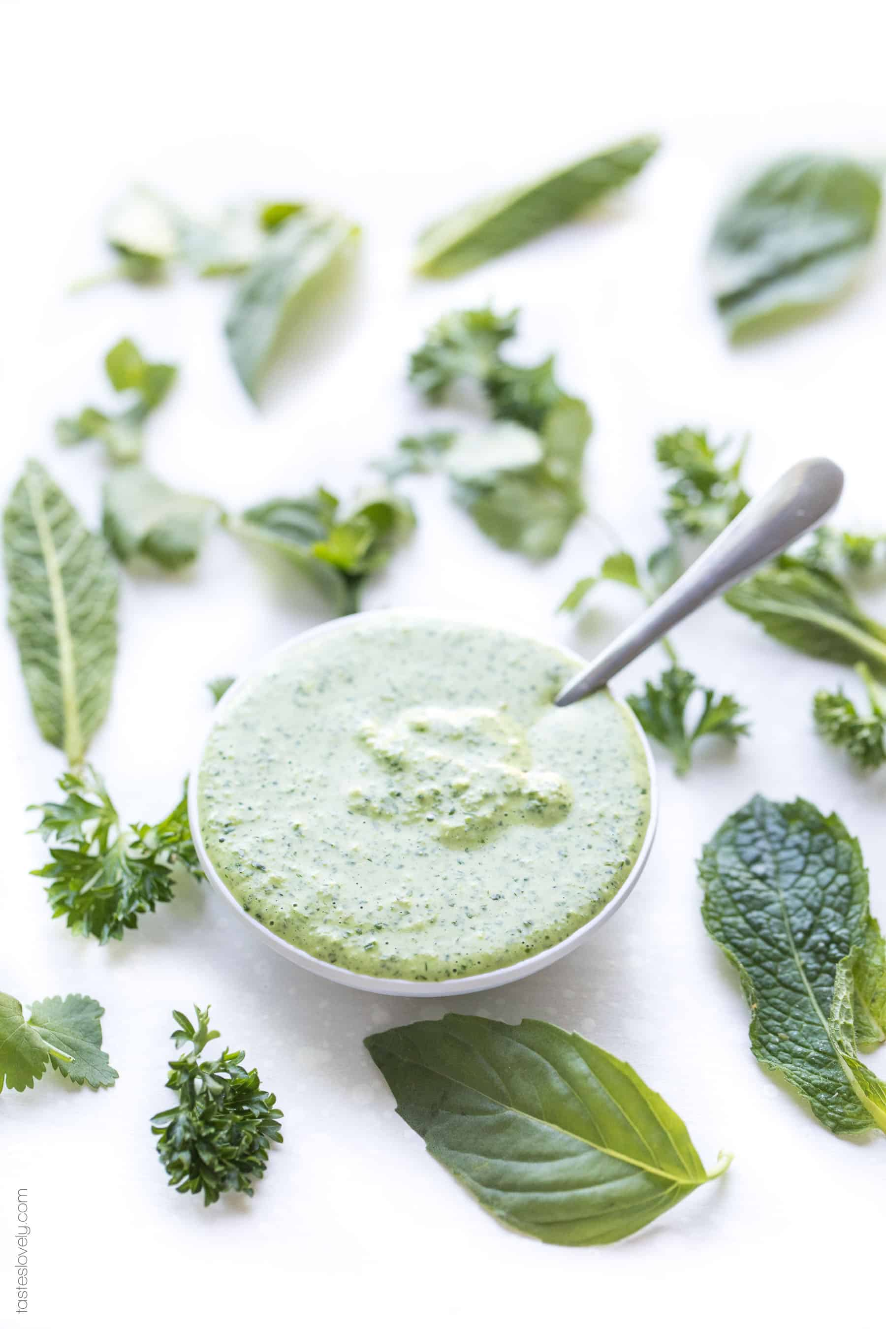 Paleo Herby Green Dressing - a light and refreshing dressing made with parsley, mint, basil and cilantro. Delicious on salads, meat and vegetables! Gluten free, dairy free, sugar free, clean eating.-1.CR2