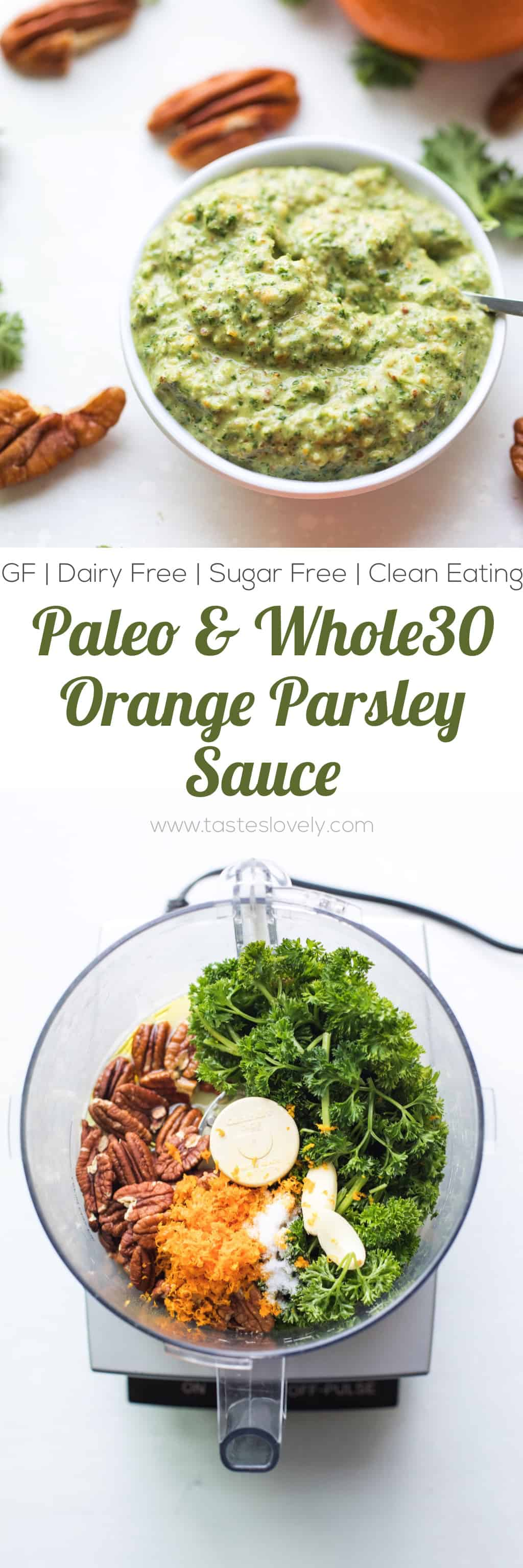 Paleo + Whole30 Orange Parsley Sauce - a citrusy and bright parsley sauce that is delicious on top of meat, fish and roasted vegetables. Gluten free, grain free, dairy free, sugar free, sugar free, clean eating, real food.