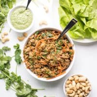 Paleo + Whole30 Thai Chicken Lettuce Wraps