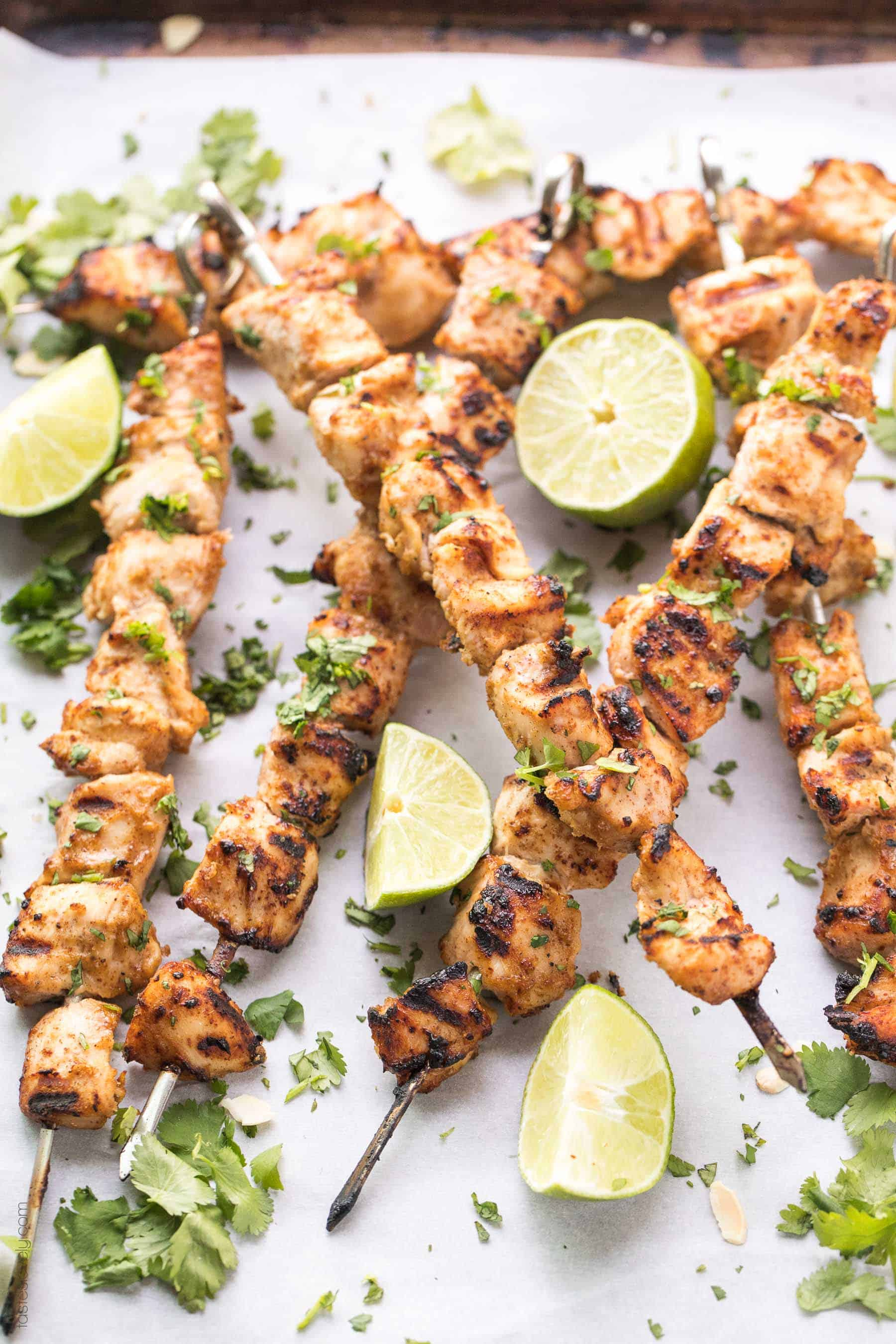 Paleo + Whole30 Thai Chicken Satay Skewers Recipe - a healthy and delicious dinner of chicken skewers marinated in a paleo + whole30 chicken satay sauce made with almond butter. #glutenfree #grainfree #dairyfree #paleo #whole30 #refinedsugarfree #cleaneating #realfood #keto