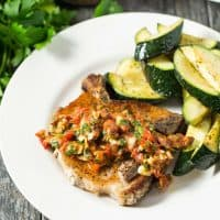 Pork Chops with Chunky Red Pepper Sauce | tasteslovely.com