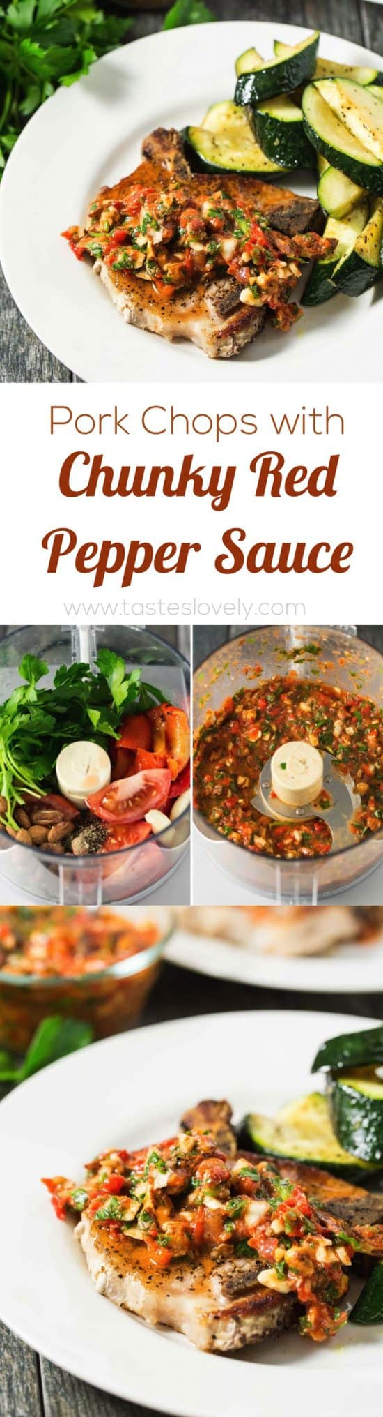 Pork Chops with Chunky Roasted Red Pepper Sauce, easy and healthy dinner that is paleo, gluten free, dairy free, low carb and Whole30