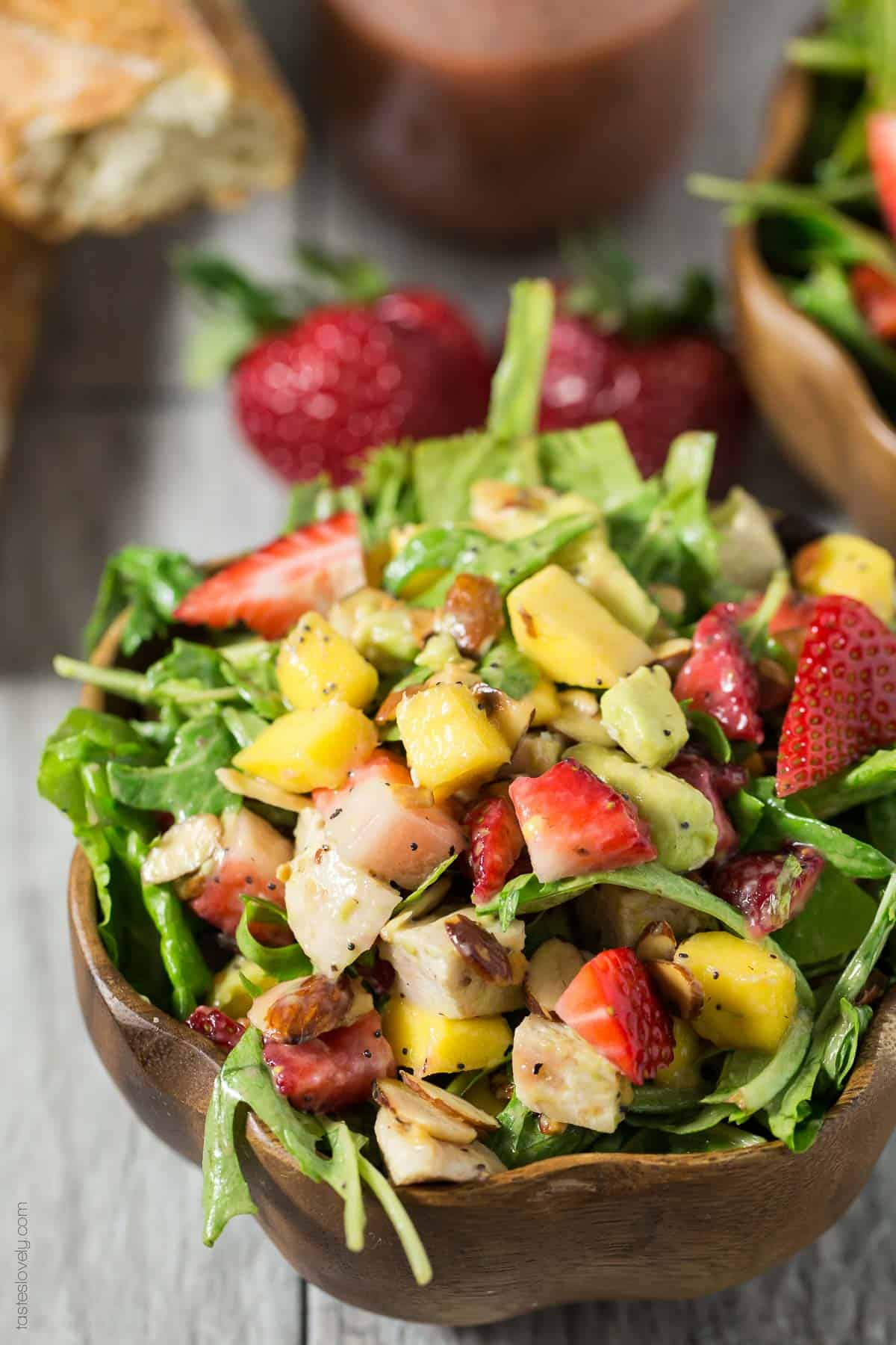 Paleo Strawberry Mango Salad with Chicken - a healthy and delicious paleo, gluten free and dairy free salad for lunch or dinner!