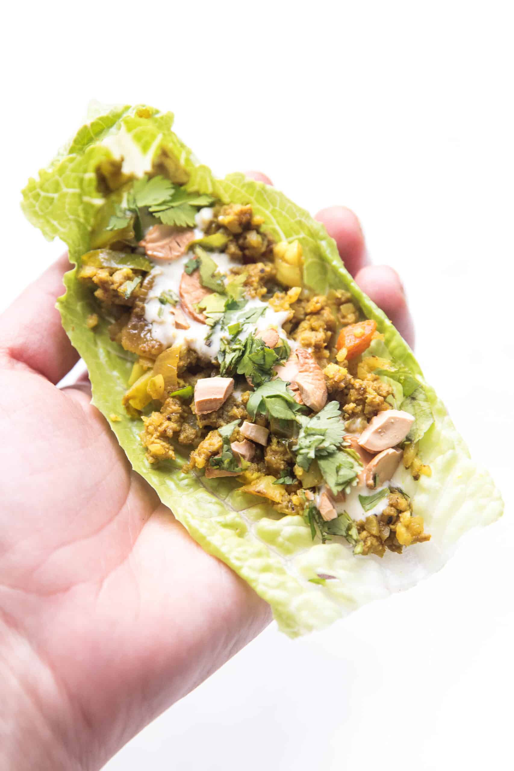 Curry lettuce wraps with cashews and cilantro in a hand