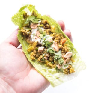 hand holding Curry lettuce wraps with cashews and cilantro