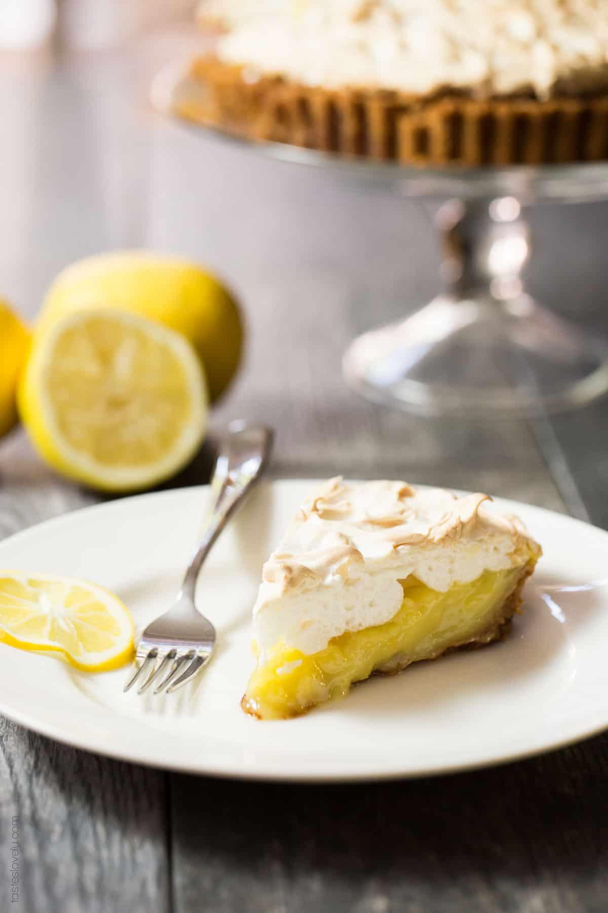 Coconut Oil Lemon Meringue Pie with a graham cracker crust (dairy free)